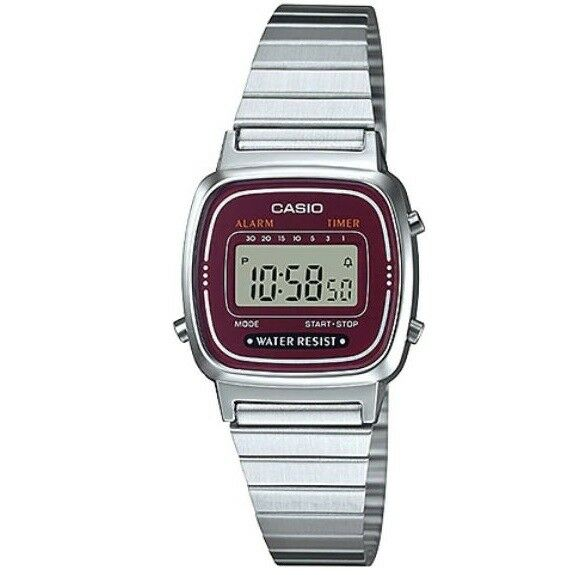 Casio LA670WA-4 Silver Dark Red Small Stainless Steel Women's Digital Watch