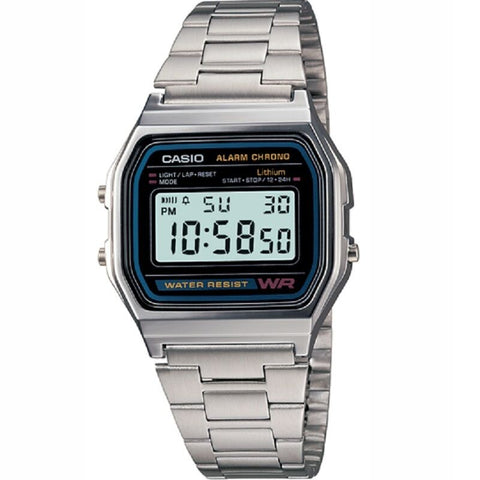 Casio A158WA-1 Classic Black Face Stainless Steel Band Unisex Digital Watch