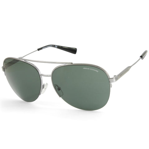 Armani Exchange AX2020S 600371 Shiny Silver/Grey Men's Metal Sunglasses