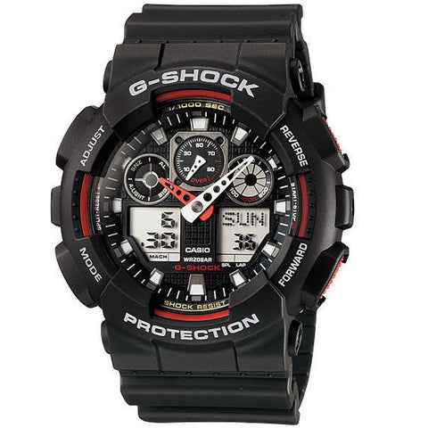 Casio G-Shock GA-100-1A4 Black & Red Men's 200m Digital-Analog Sports Watch
