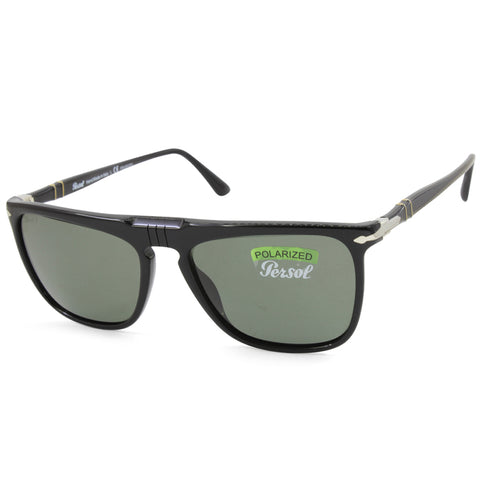 Persol PO3225S 95/58 Polished Black/Green Polarised Men's Designer Sunglasses