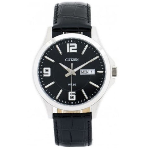 Citizen BF2001-04E Black Dial Black Leather Strap Men's Quartz Analog Watch