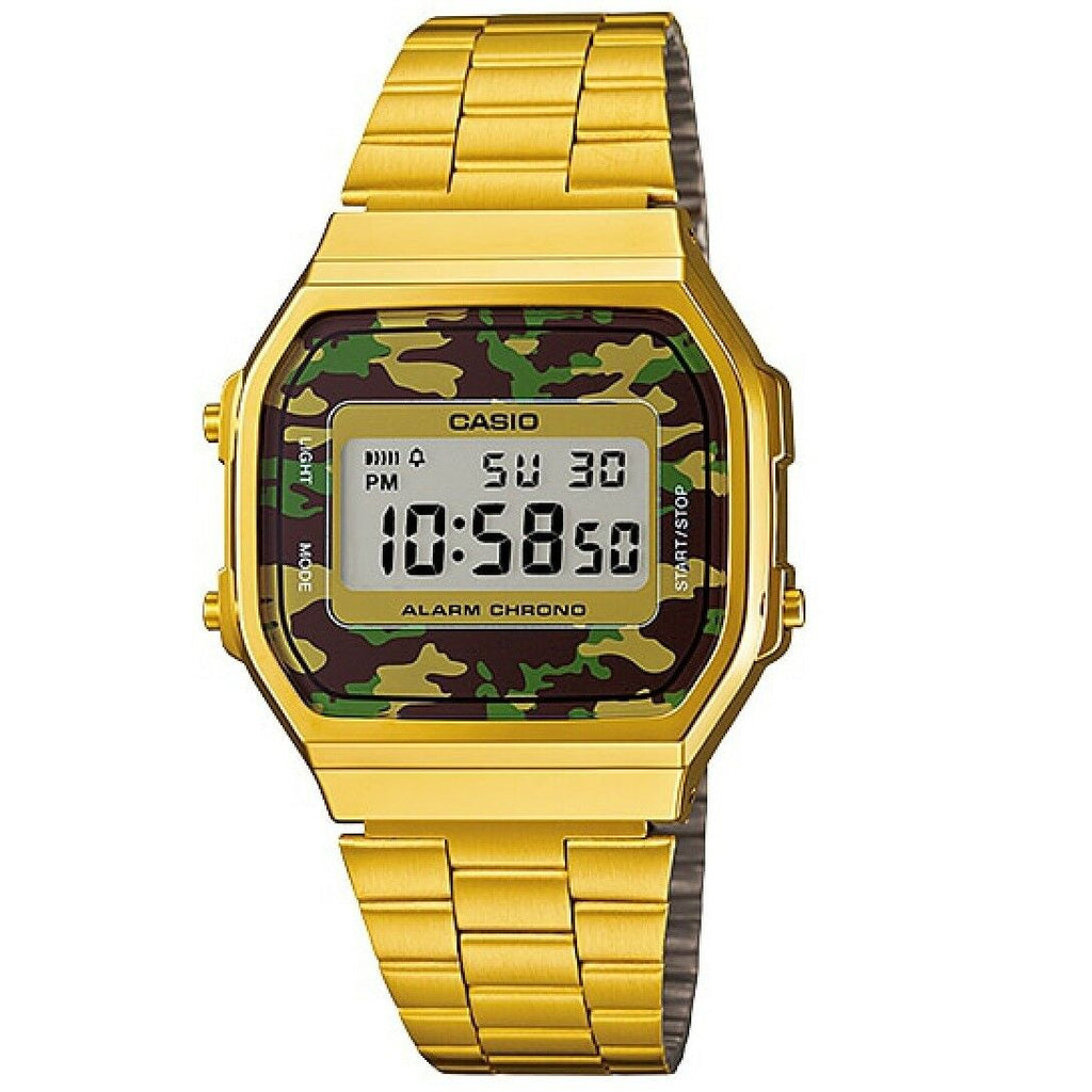 Casio A168WEGC-3 Gold with Brown Camouflage Retro Unisex Digital Watch