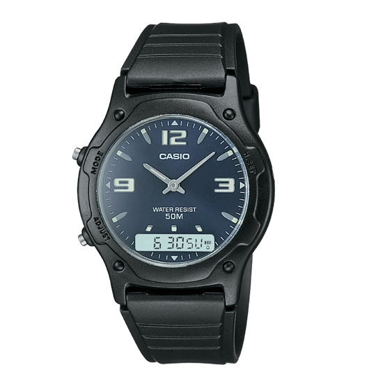 Casio AW-49HE-2 Black with Blue Dial Casual Unisex Analog-Digital Watch