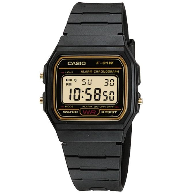 Casio F-91WG-9 Black & Gold Retro Classic Alarm Stopwatch Unisex Digital Watch