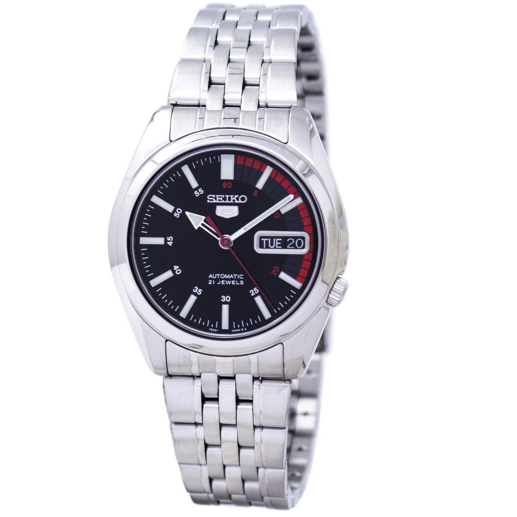 Seiko 5 SNK375 K1 Black & Red Dial Men's Automatic Analog Watch