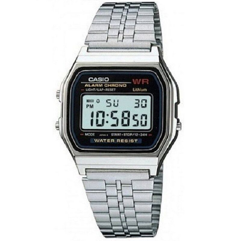 Casio A159WA-N1 Silver Retro Stainless Steel Digital Unisex Watch (Made in Japan)