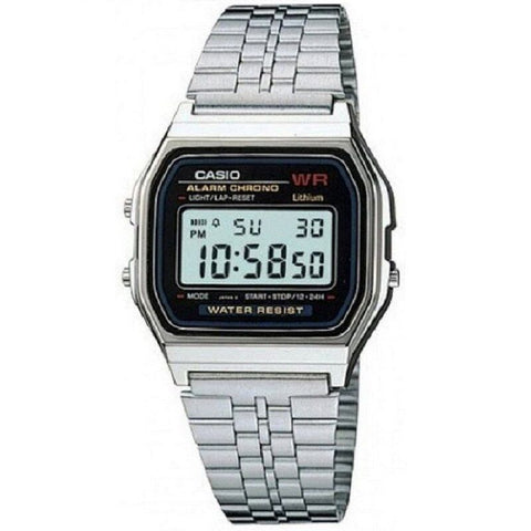 Casio A159W-N1 Silver Stainless Steel Retro Style Digital Watch (Made in Japan)