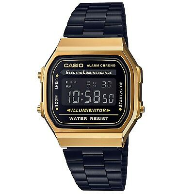 Casio A168WEGB-1B Black and Gold Ion Plated Retro Vintage Unisex Digital Watch