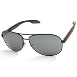 Prada Sport PS53PS 1BO7W1 Matte Black/Grey Mirror Men's Metal Pilot Sunglasses