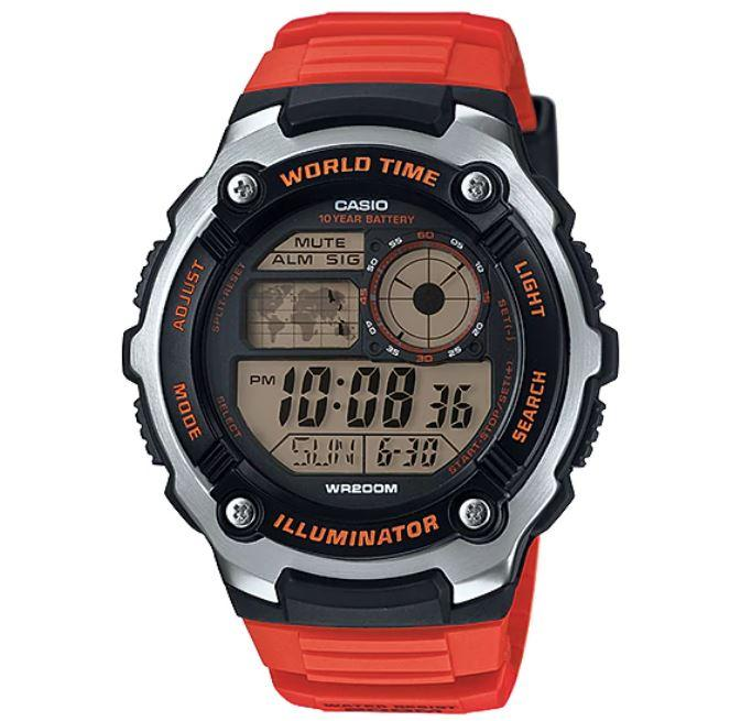 Casio AE-2100W-4AV Silver with Orange Strap World Time 200m Digital Sports Watch
