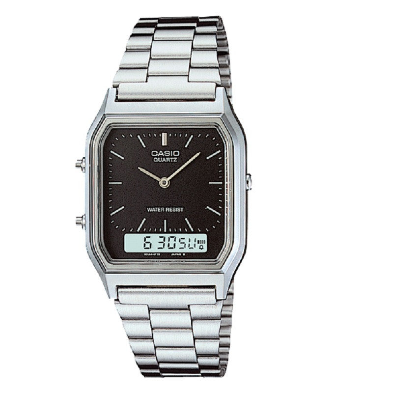 Casio AQ-230A-1D Stainless Steel Black Face Analog Digital Watch