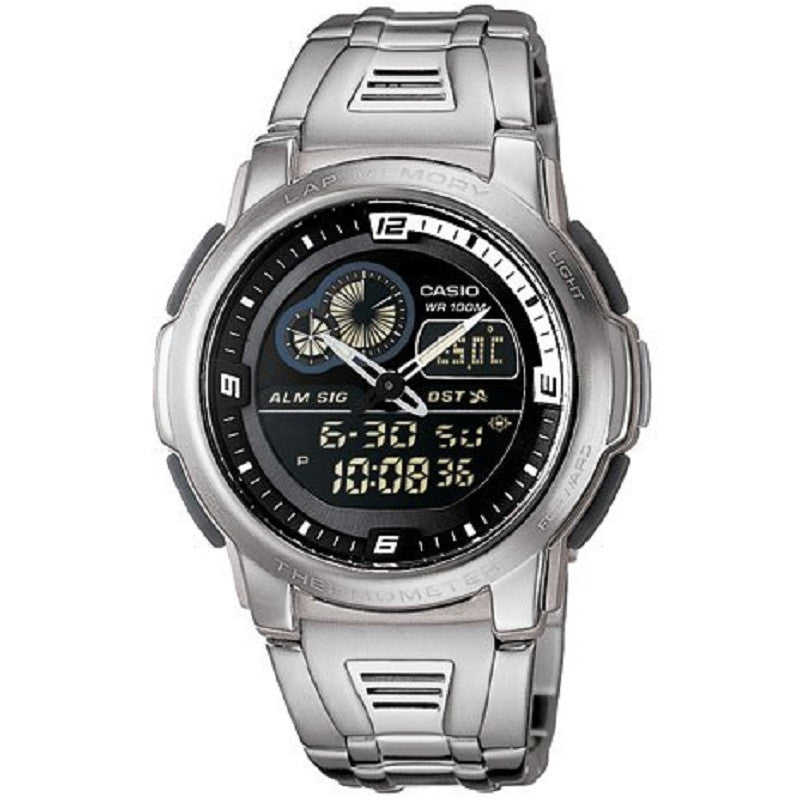 Casio AQF-102WD-1BV Stainless Steel Black Thermometer Digital Analog Sports Watch