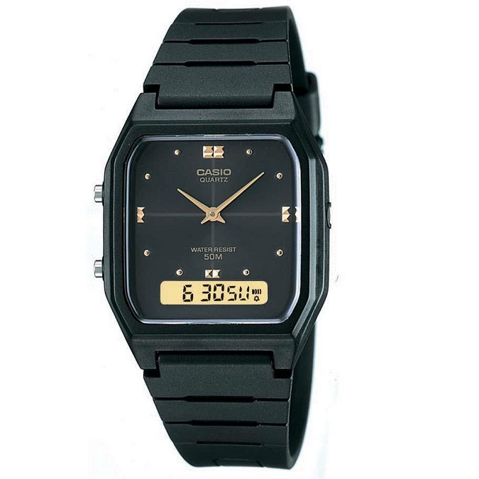 Casio AW-48HE-1AV Black Gold Dual Time Youth Series Unisex Digital Analog Watch