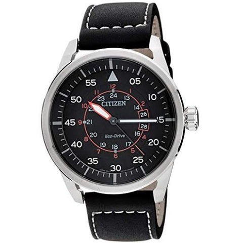 Citizen Eco-Drive Aviator AW1360-04E Black Leather Strap Solar Men's Analog Watch