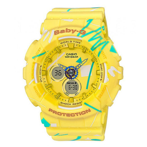 Casio Baby-G BA-120SC-9A Yellow Pop Graffiti Analog Women's Sports Watch