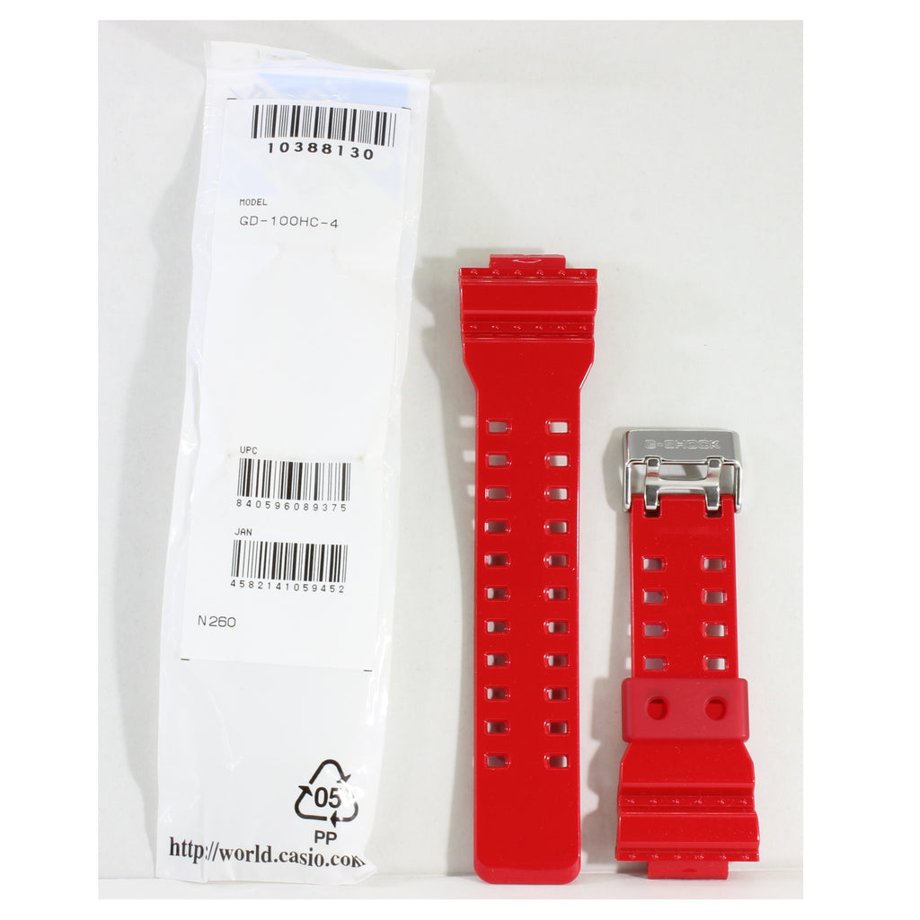 Casio G-Shock Shiny Red Genuine Replacement Strap 10388130 to suit GD-100HC-4