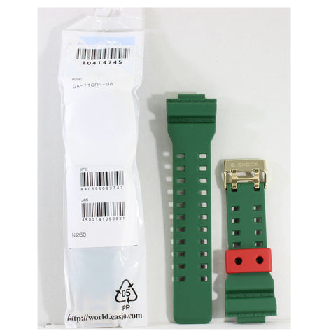 Casio G-Shock Shiny Green Genuine Replacement Strap 10414745 to suit GA-110RF-9A Rastafarian
