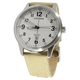 Citizen BI1050-05A White Dial Brown Nylon Strap Men's Quartz Watch