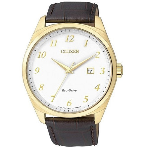 Citizen BM7322-06A Eco-Drive White Dial Brown Leather Strap Men's Analog Watch
