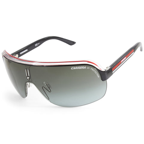 Carrera Topcar 1 KB0 PT Shiny Black on Clear/Grey Gradient Unisex Shield Sunglasses