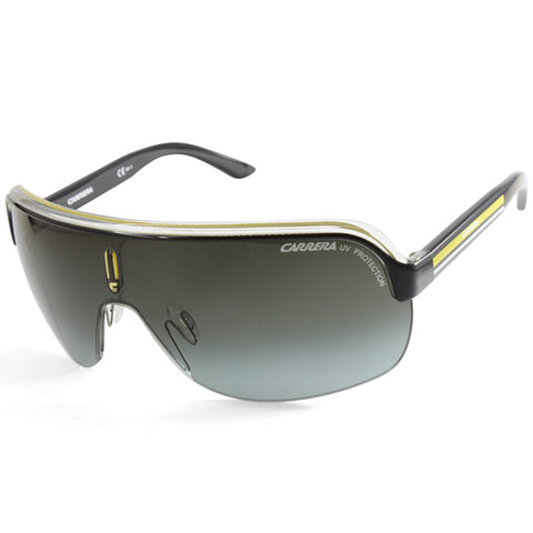 Carrera Topcar 1 KBN PT Shiny Black & Yellow/Grey Gradient Unisex Shield Sunglasses