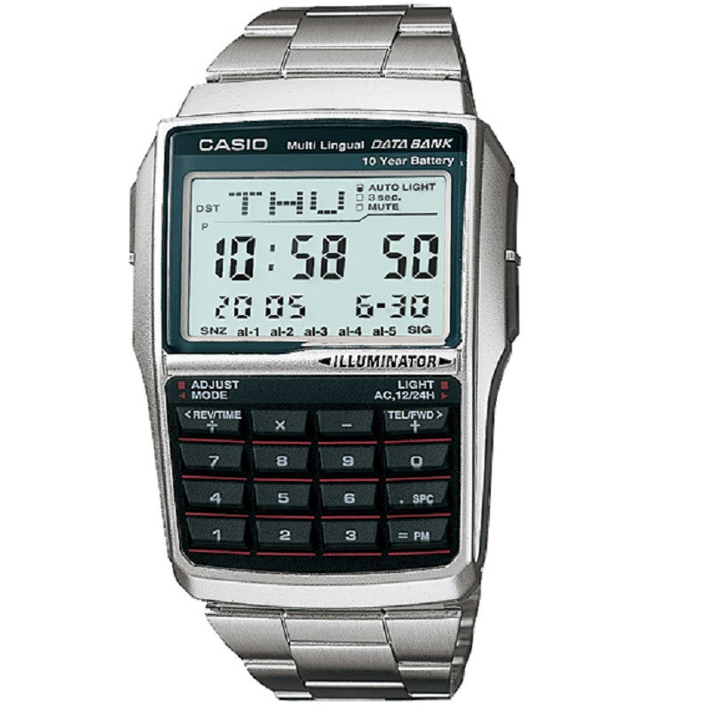 Casio DBC-32D-1A Stainless Steel Digital Telememo Calculator Watch