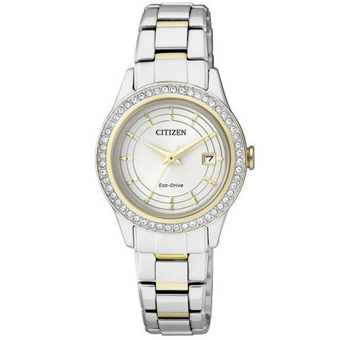 Citizen Eco Drive FE1124-82A Silver Gold Tone Women's Solar Analog Dress Watch