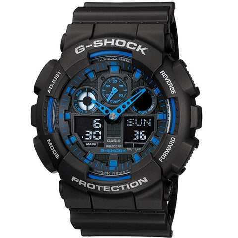 Casio G-Shock GA-100-1A2 Black Blue Digital Analog Sports Watch