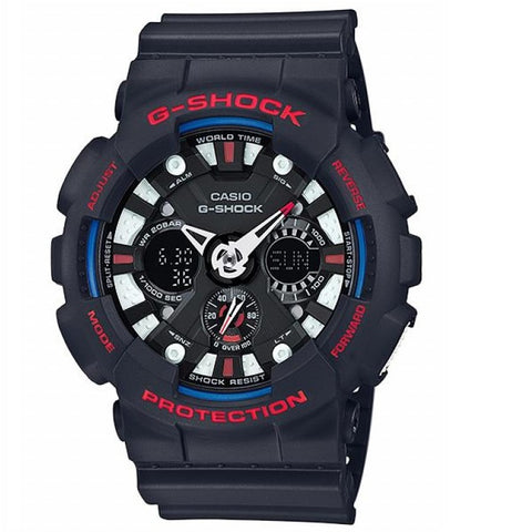 Casio G-Shock GA-120TR-1A Black Blue Tri-Colour Men's Analog Digital Sports Watch
