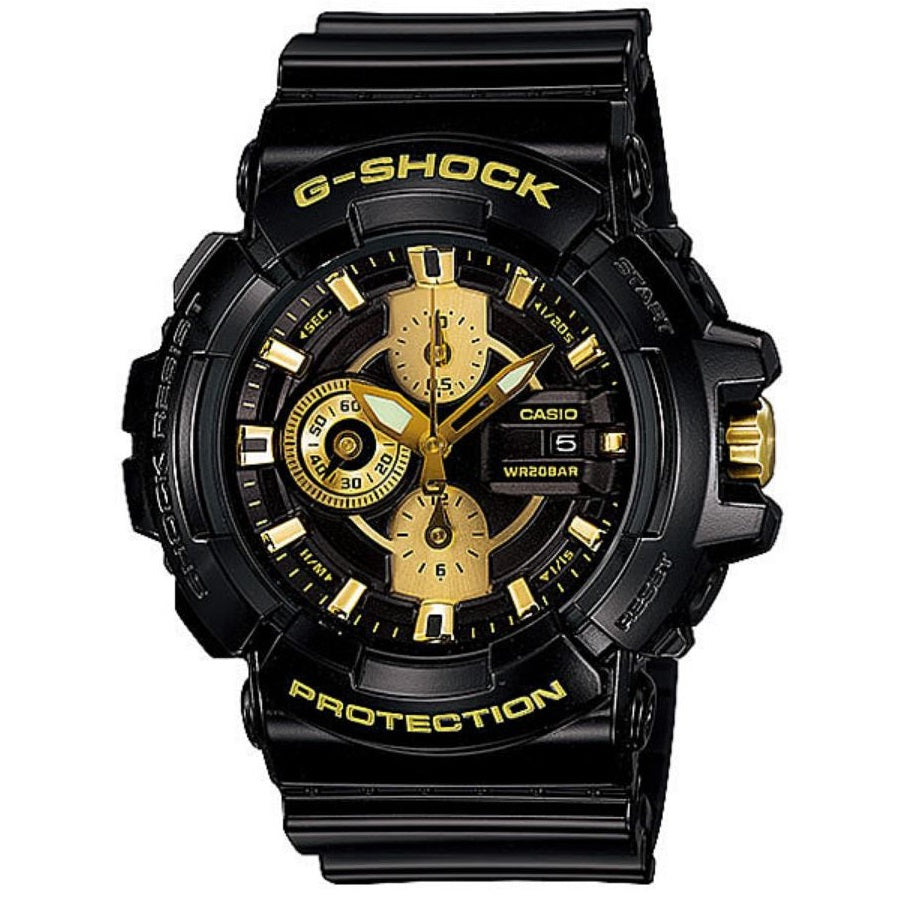 Casio G-Shock GAC100BR-1A Black and Gold Men's 200m Analog Sports Watch