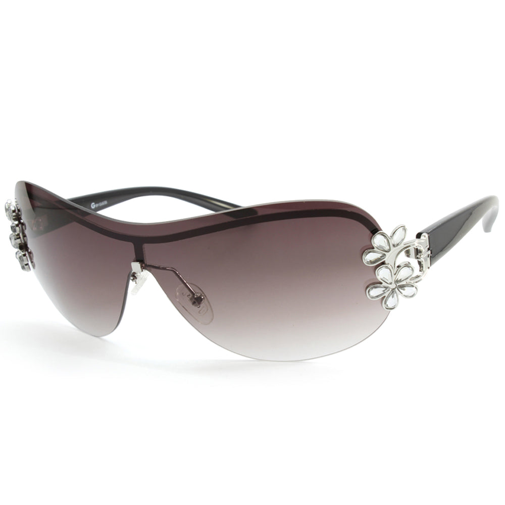 f3a58e189411 Guess. Guess GGU1111 Silver/Grey Gradient Crystal Bling Women's Shield  Sunglasses