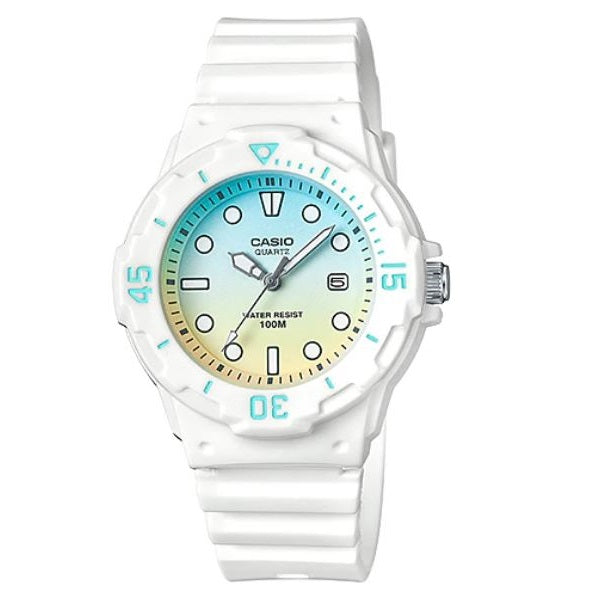 Casio LRW-200H-2E2 White with Yellow Blue Dial Women's 100m Analog Sports Watch