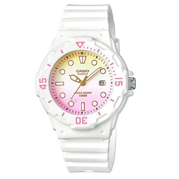 Casio LRW-200H-4E2 White with Yellow & Pink Dial Women's 100m Analog Sports Watch