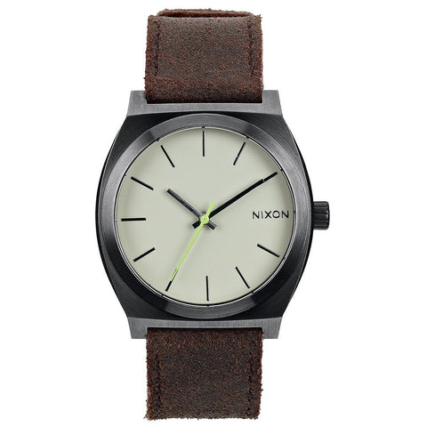 Nixon A0451388 Time Teller Gunmetal Brown Leather Mens Analog Watch