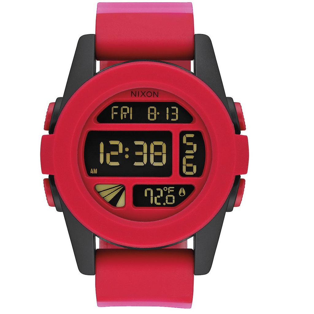 Nixon Unit A197 1488 Red with Black Case Unisex Digital Sports Watch