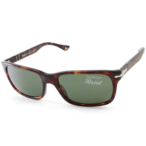 Persol PO3048S 24/31 Shiny Havana/Green Men's Rectangular Sunglasses