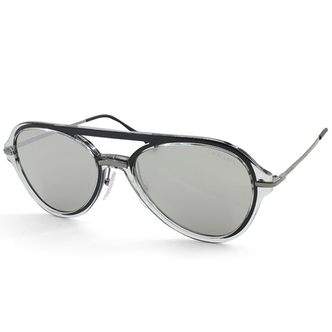 Prada Sport PS 04TS MQG2B0 Transparent Grey/Silver Mirror Men's Sunglasses