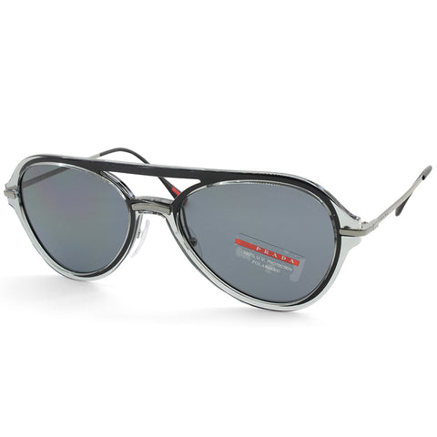 Prada Sport PS 04TS P2X5Z1 Transparent Grey/Grey Men's Polarised Sunglasses