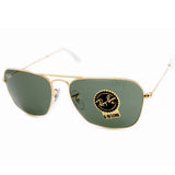 Ray Ban RB3136 001 Caravan Gold/Green G15 Men's Metal Sunglasses Sizes 55 & 58