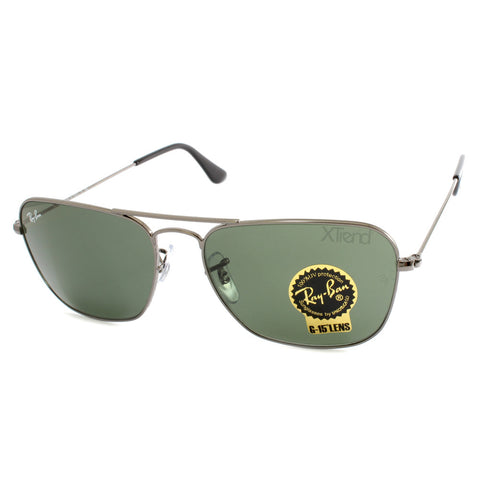 Ray Ban RB3136 004 Caravan Gunmetal/Green G15 Men's Metal Sunglasses