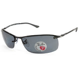 Ray-Ban RB3183 002/81 Top Bar Polarised Shiny Black/Grey Sunglasses