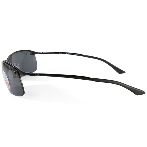 480894357b583b ... Ray-Ban RB3183 002 81 Top Bar Polarised Shiny Black Grey Sunglasses ...