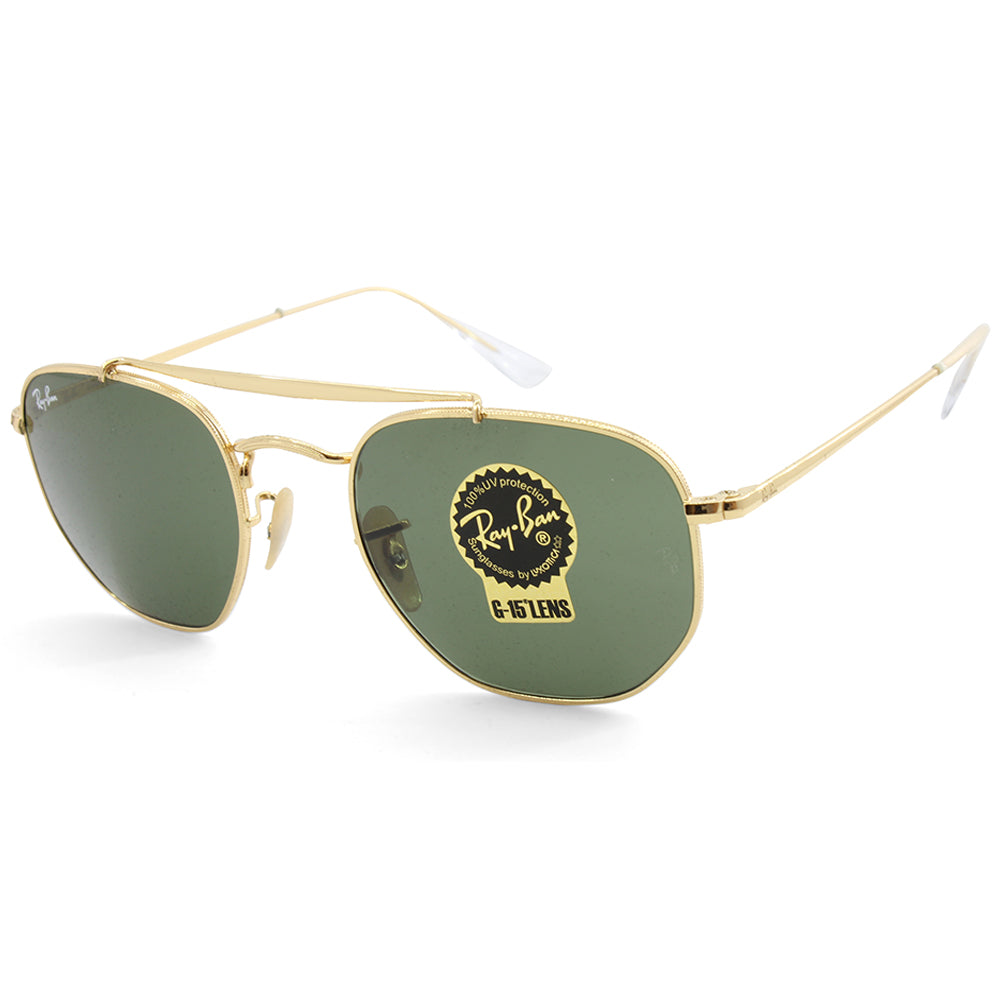 5e68400745 Ray-Ban. Ray-Ban RB3648 001 The Marshal Gold Green G15 Unisex Metal  Sunglasses