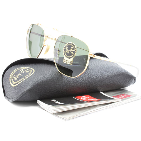 0e5c5226dc3 ... Ray-Ban RB3648 001 The Marshal Gold Green G15 Unisex Metal Sunglasses