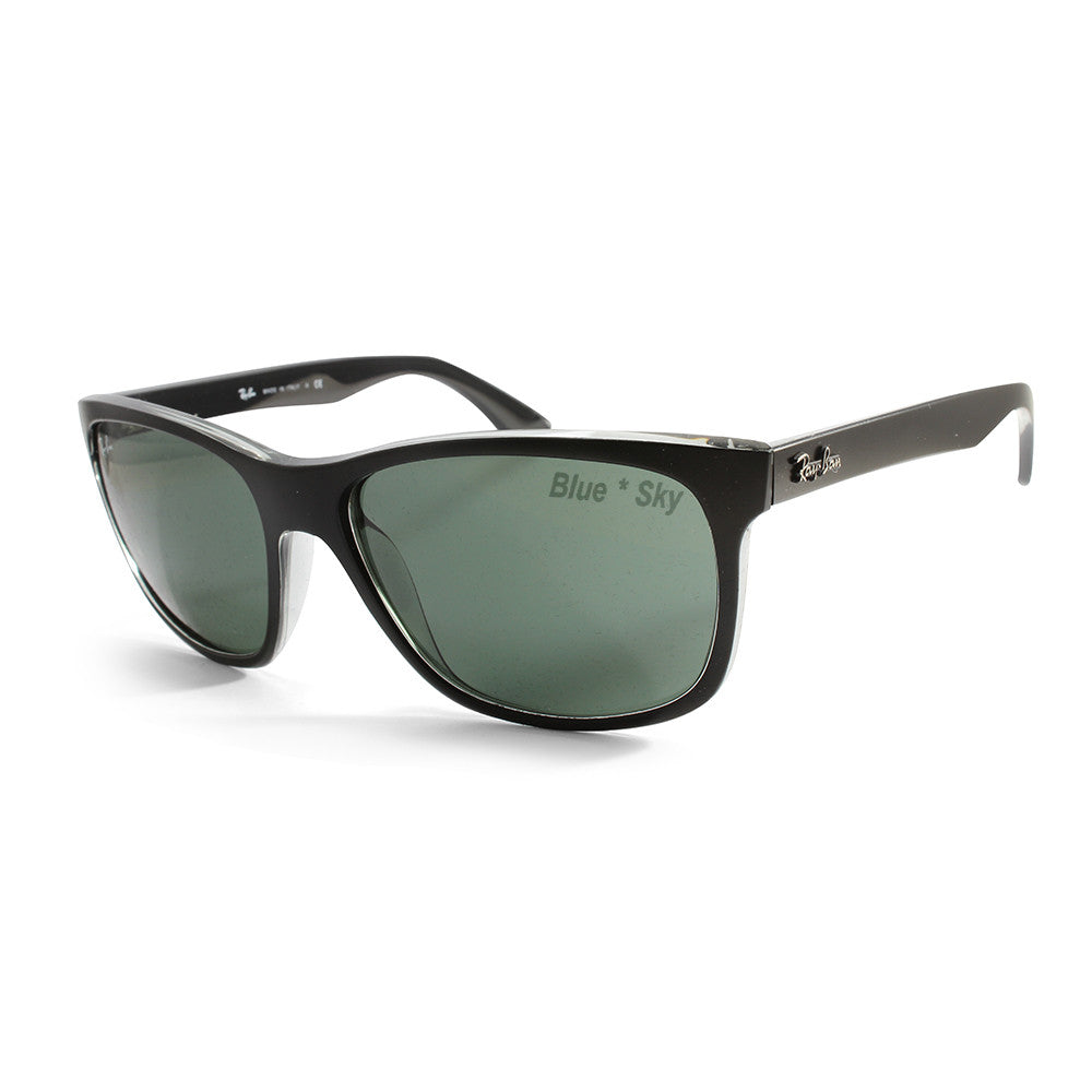92b18e03651 Ray-Ban Highstreet RB4181 6130 Black on Clear Green Unisex ...