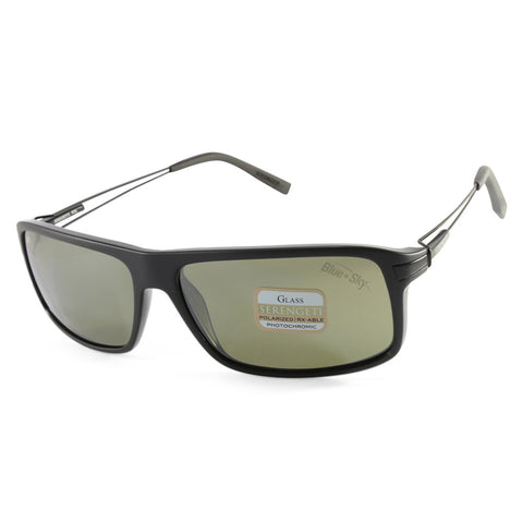 f1df6af30329 Sale Serengeti Rivoli 7916 Shiny Satin Black/Green Polarised Mens Sunglasses