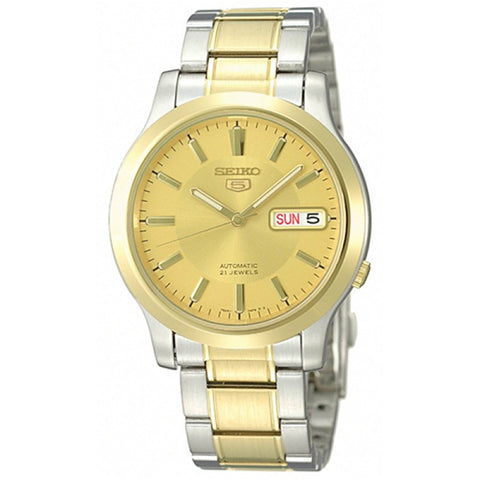 Seiko 5 SNK792 K1 Yellow Gold Dial Stainless Steel Men's Automatic Analog Watch