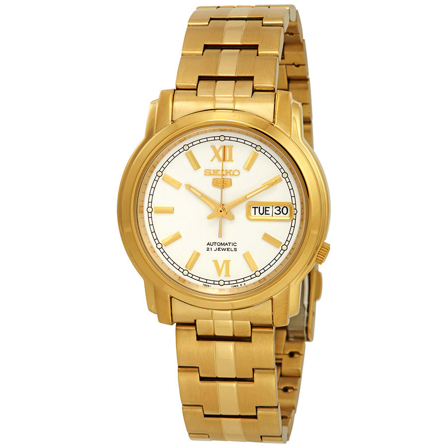 Seiko 5 SNKK84 K1 Gold with White Dial Stainless Steel Men's Automatic Analog Watch