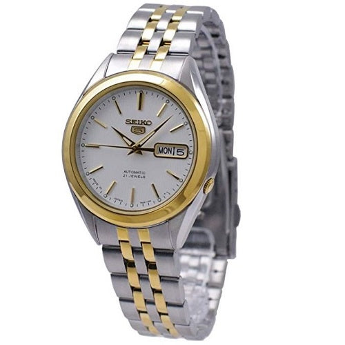 Seiko 5 SNKL24 J1 Two Tone with Silver Dial Mens Automatic Watch
